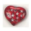 Glass Bead Heart 5X14mm Strung - Siam Ruby/Silver Stars